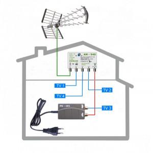 HEVC anténní komplet pro 4 TV TESLA 949-101-4