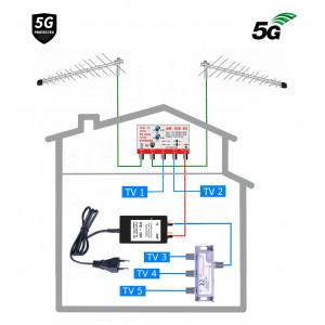 HEVC anténní 5G komplet pro 5 TV 838-101-5
