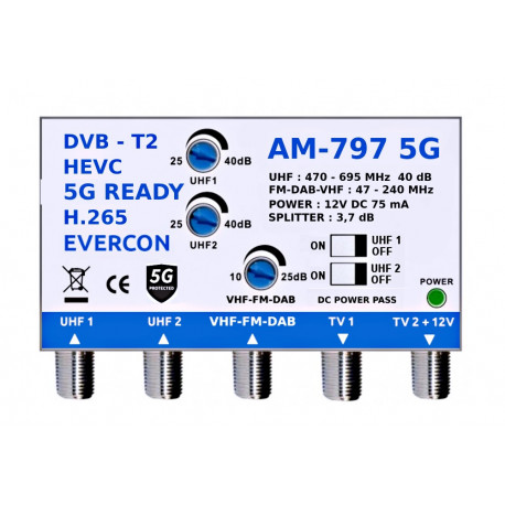 DVB-T2 HEVC anténní zesilovač AM-797