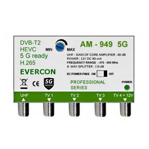 HEVC anténní zesilovač pro 4 TV Evercon AM-949 5G