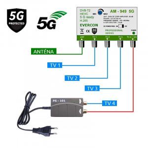 5G READY anténní set pro 4 TV Evercon 949-101-4